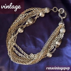 Vntg 9 stranded Silver & gold luxe necklace